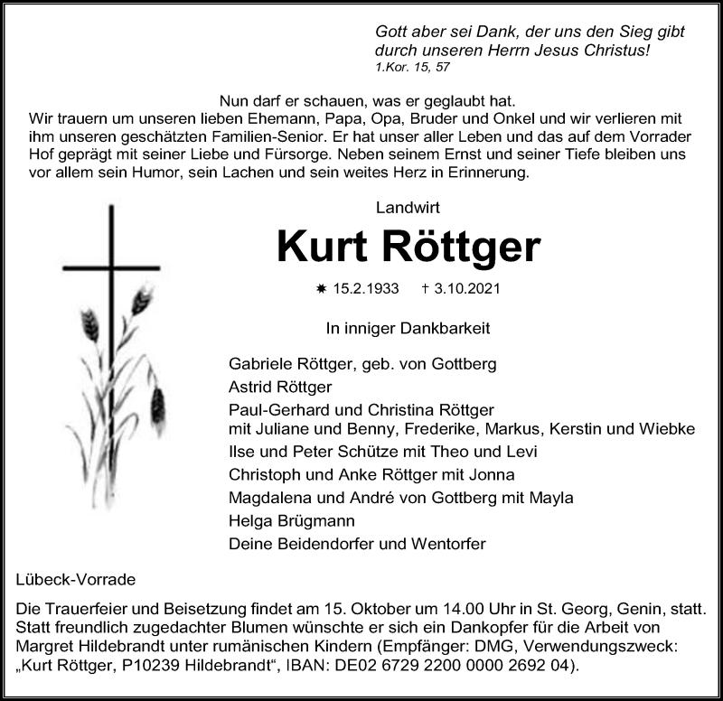Traueranzeige für Kurt Röttger vom 10.10.2021 aus Lübecker Nachrichten