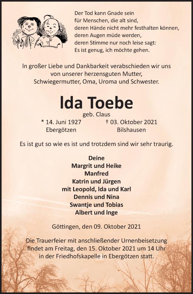 Traueranzeige für lda Toebe vom 09.10.2021 aus Göttinger Tageblatt