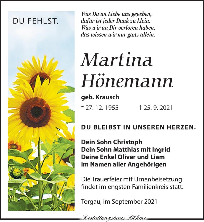 Traueranzeige für Martina Hönemann vom 02.10.2021 aus Torgauer Zeitung