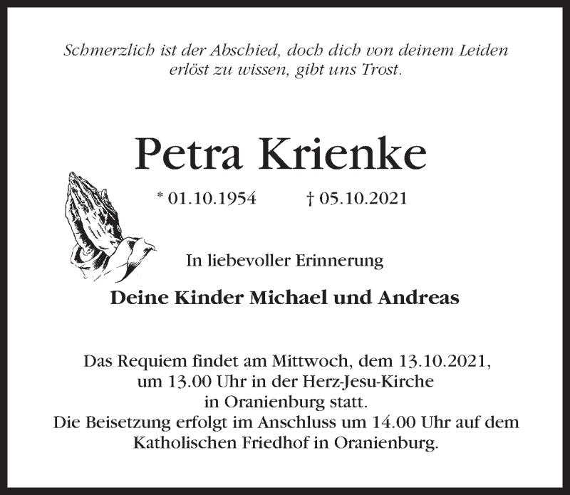 Traueranzeige für Petra Krienke vom 09.10.2021 aus Märkischen Allgemeine Zeitung