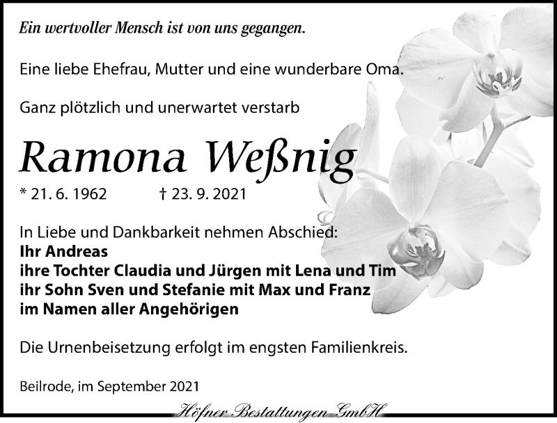 Traueranzeige für Ramona Weßnig vom 02.10.2021 aus Torgauer Zeitung