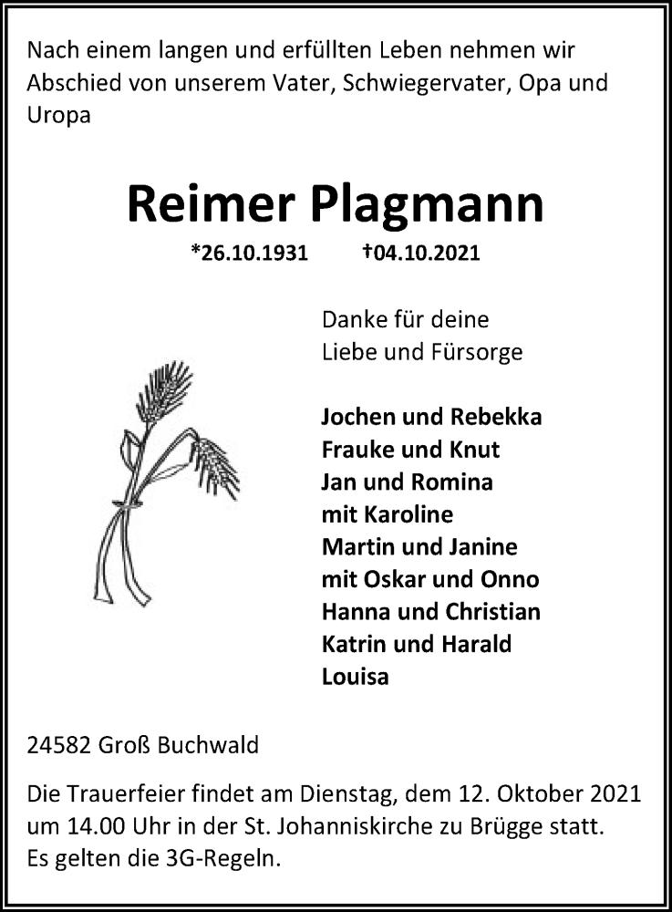 Traueranzeige für Reimer Plagmann vom 09.10.2021 aus Kieler Nachrichten