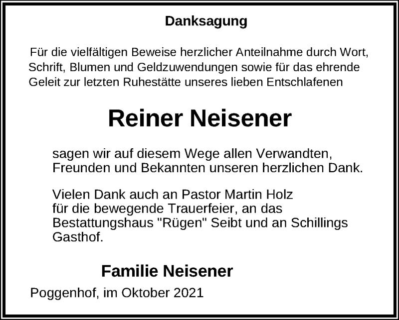 Traueranzeige für Reiner Neisener vom 23.10.2021 aus Ostsee-Zeitung GmbH