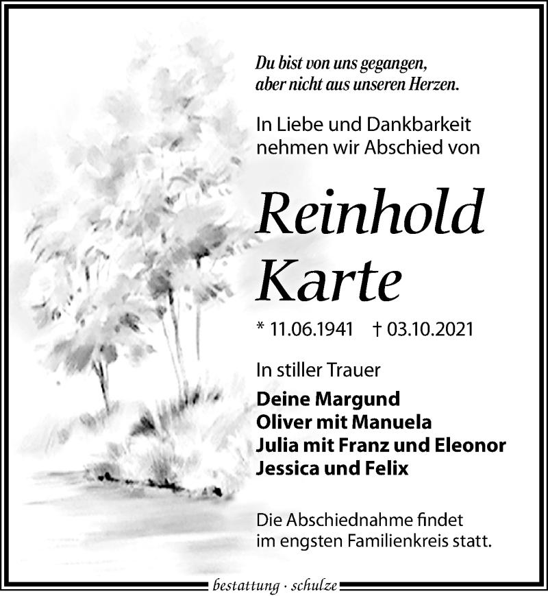 Traueranzeige für Reinhold Karte vom 09.10.2021 aus Leipziger Volkszeitung