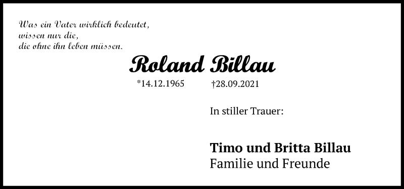Traueranzeige für Roland Billau vom 09.10.2021 aus Hannoversche Allgemeine Zeitung/Neue Presse