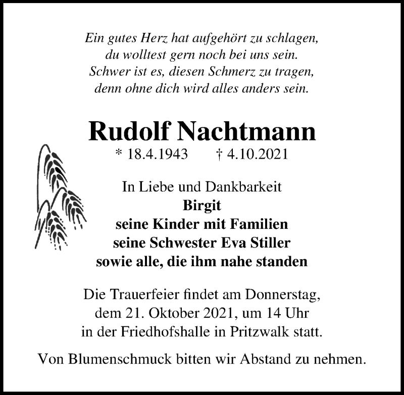 Traueranzeige für Rudolf Nachtmann vom 09.10.2021 aus Märkischen Allgemeine Zeitung