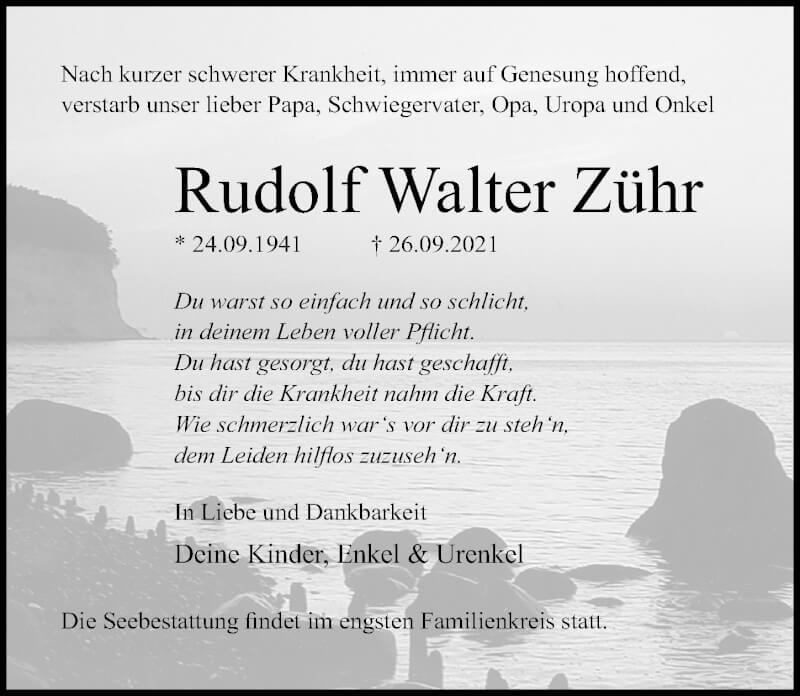 Traueranzeige für Rudolf Walter Zühr vom 02.10.2021 aus Ostsee-Zeitung GmbH