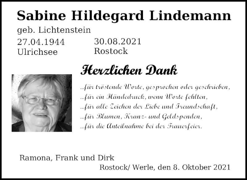 Traueranzeige für Sabine Hildegard Lindemann vom 09.10.2021 aus Ostsee-Zeitung GmbH