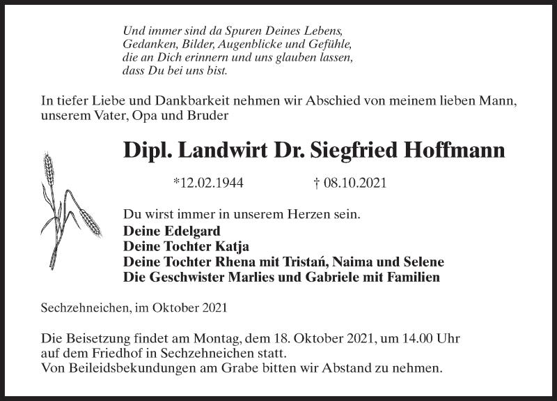 Traueranzeige für Siegfried Hoffmann vom 13.10.2021 aus Märkischen Allgemeine Zeitung