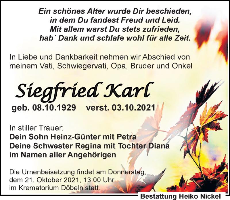 Traueranzeige für Siegfried Karl vom 09.10.2021 aus Leipziger Volkszeitung