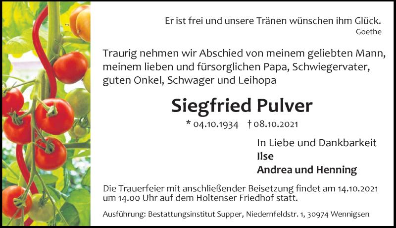 Traueranzeige für Siegfried Pulver vom 12.10.2021 aus Hannoversche Allgemeine Zeitung/Neue Presse