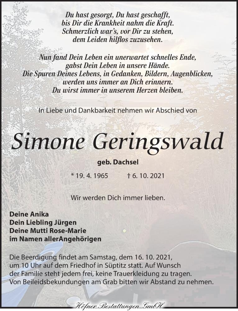 Traueranzeige für Simone Geringswald vom 13.10.2021 aus Torgauer Zeitung
