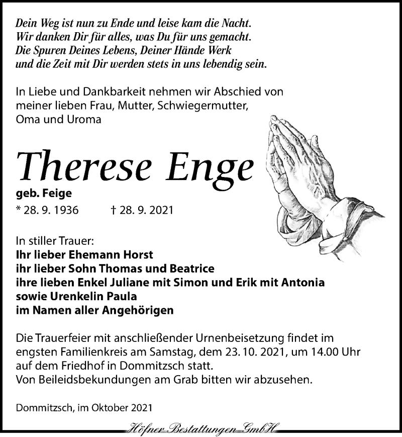 Traueranzeige für Therese Enge vom 09.10.2021 aus Torgauer Zeitung