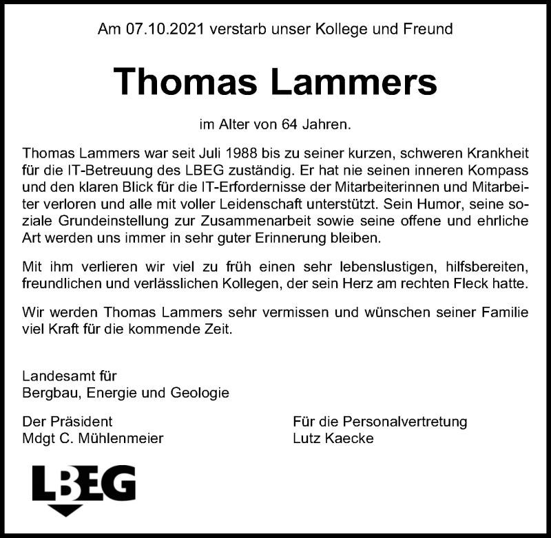 Traueranzeige für Thomas Lammers vom 14.10.2021 aus Hannoversche Allgemeine Zeitung/Neue Presse