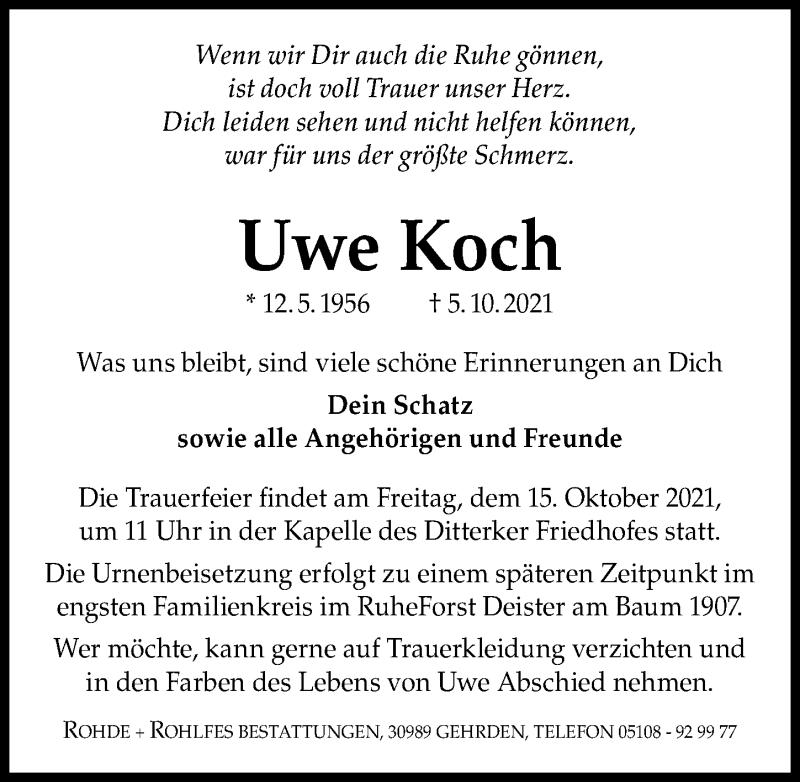 Traueranzeige für Uwe Koch vom 13.10.2021 aus Hannoversche Allgemeine Zeitung/Neue Presse