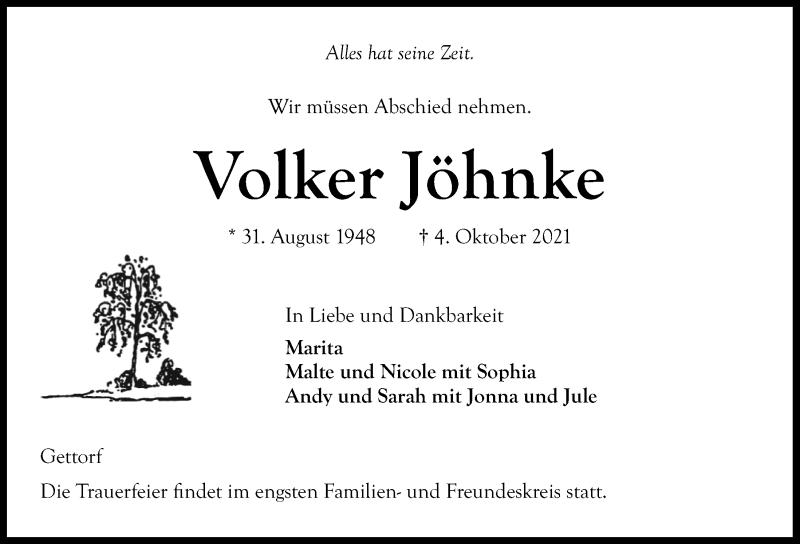 Traueranzeige für Volker Jöhnke vom 09.10.2021 aus Kieler Nachrichten