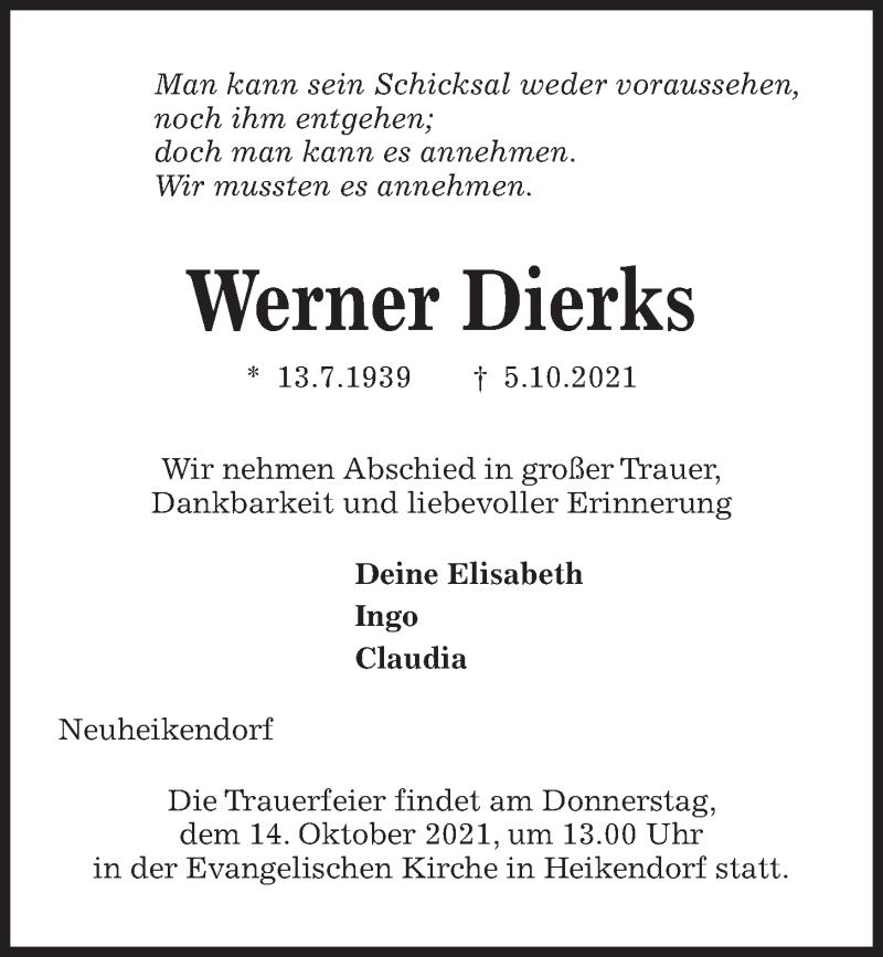 Traueranzeige für Werner Dierks vom 09.10.2021 aus Kieler Nachrichten
