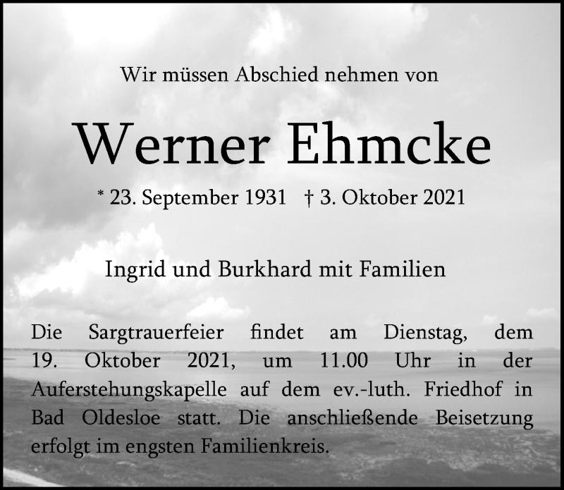 Traueranzeige für Werner Ehmcke vom 10.10.2021 aus Lübecker Nachrichten