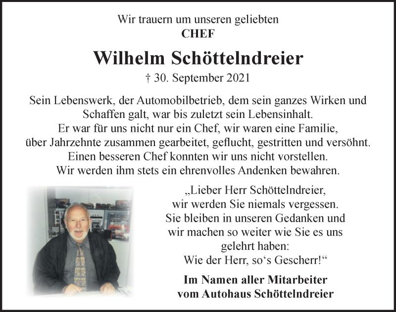 Traueranzeige für Wilhelm Schöttelndreier vom 09.10.2021 aus Schaumburger Nachrichten