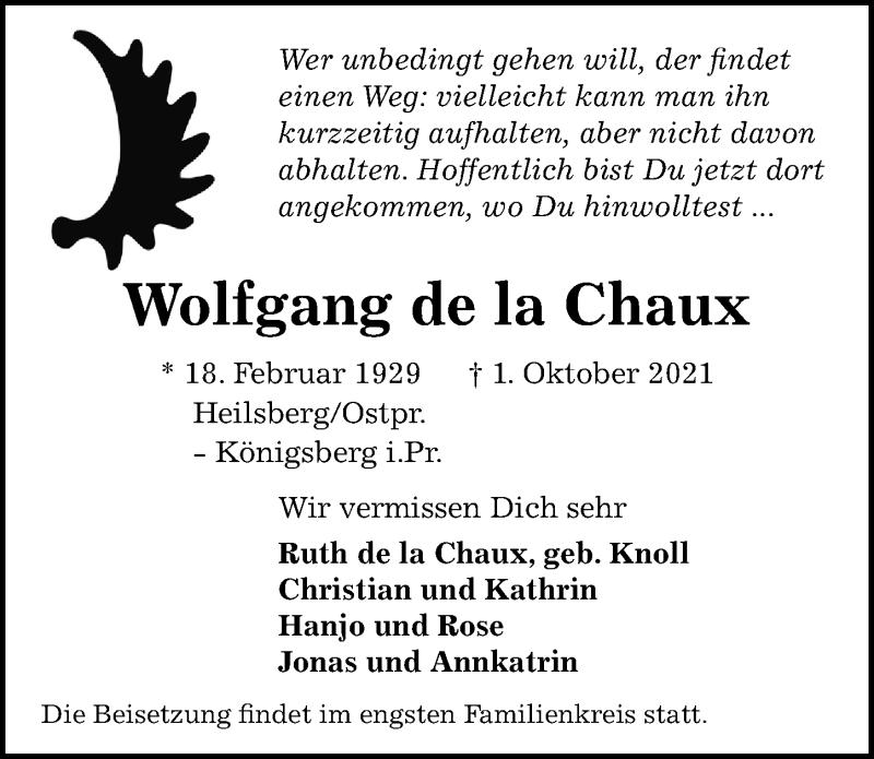 Traueranzeige für Wolfgang de la Chaux vom 09.10.2021 aus Göttinger Tageblatt