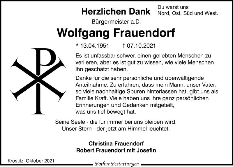 Traueranzeige für Wolfgang Frauendorf vom 23.10.2021 aus Leipziger Volkszeitung