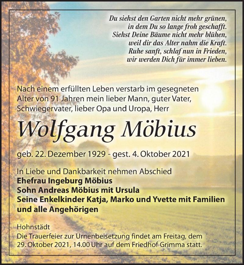 Traueranzeige für Wolfgang Möbius vom 09.10.2021 aus Leipziger Volkszeitung