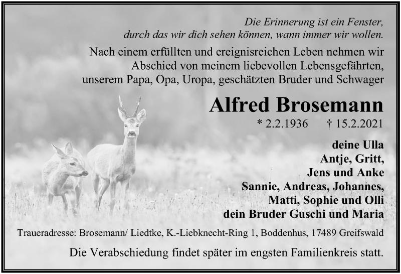 Traueranzeige für Alfred Brosemann vom 20.02.2021 aus Ostsee-Zeitung GmbH