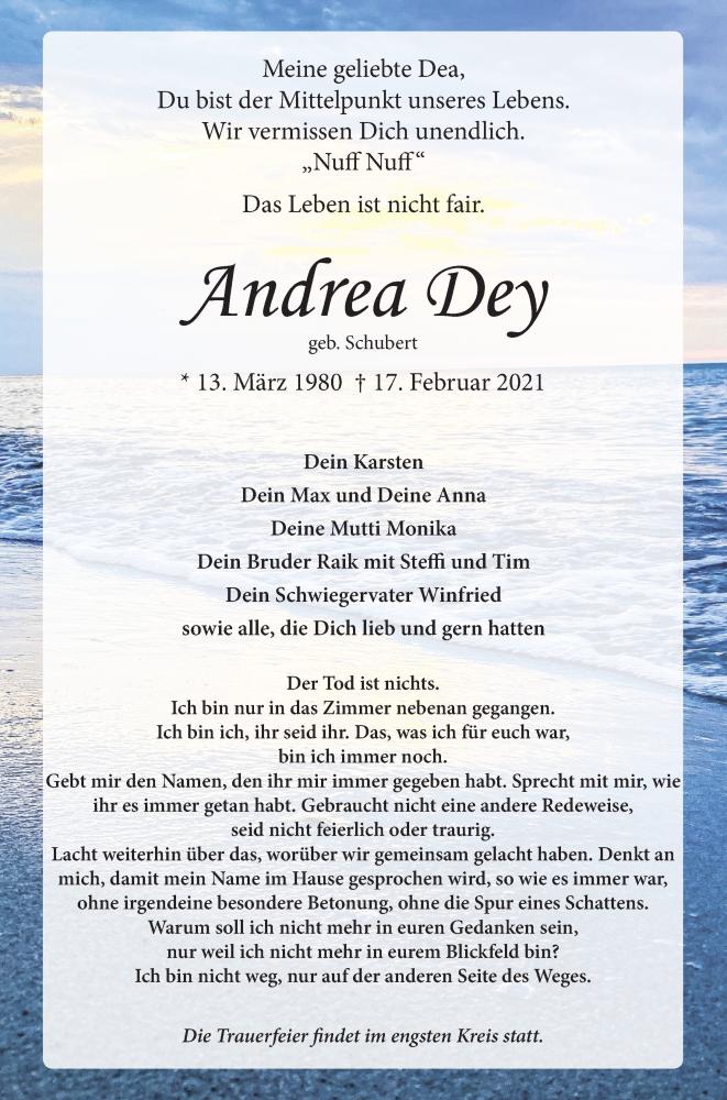 Traueranzeige für Andrea Dey vom 20.02.2021 aus Ostsee-Zeitung GmbH