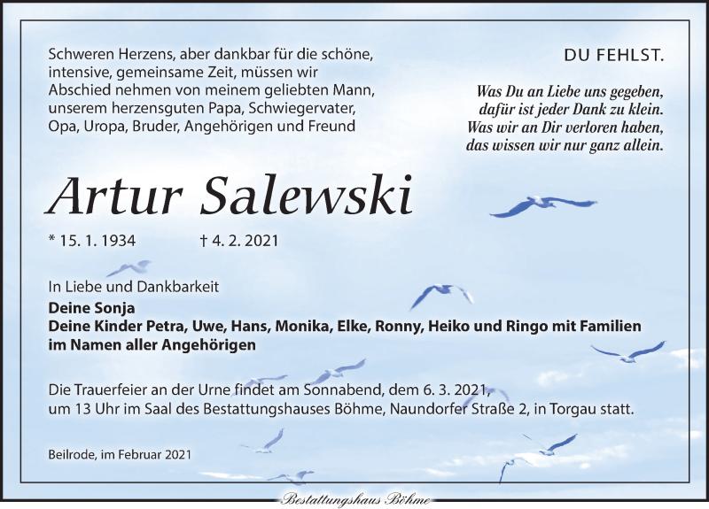 Traueranzeige für Artur Salewski vom 13.02.2021 aus Torgauer Zeitung