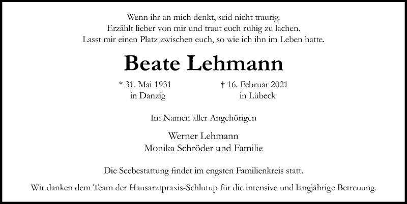 Traueranzeige für Beate Lehmann vom 21.02.2021 aus Lübecker Nachrichten