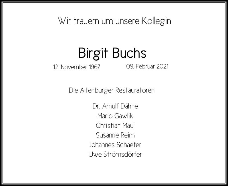 Traueranzeige für Birgit Buchs vom 27.02.2021 aus Leipziger Volkszeitung