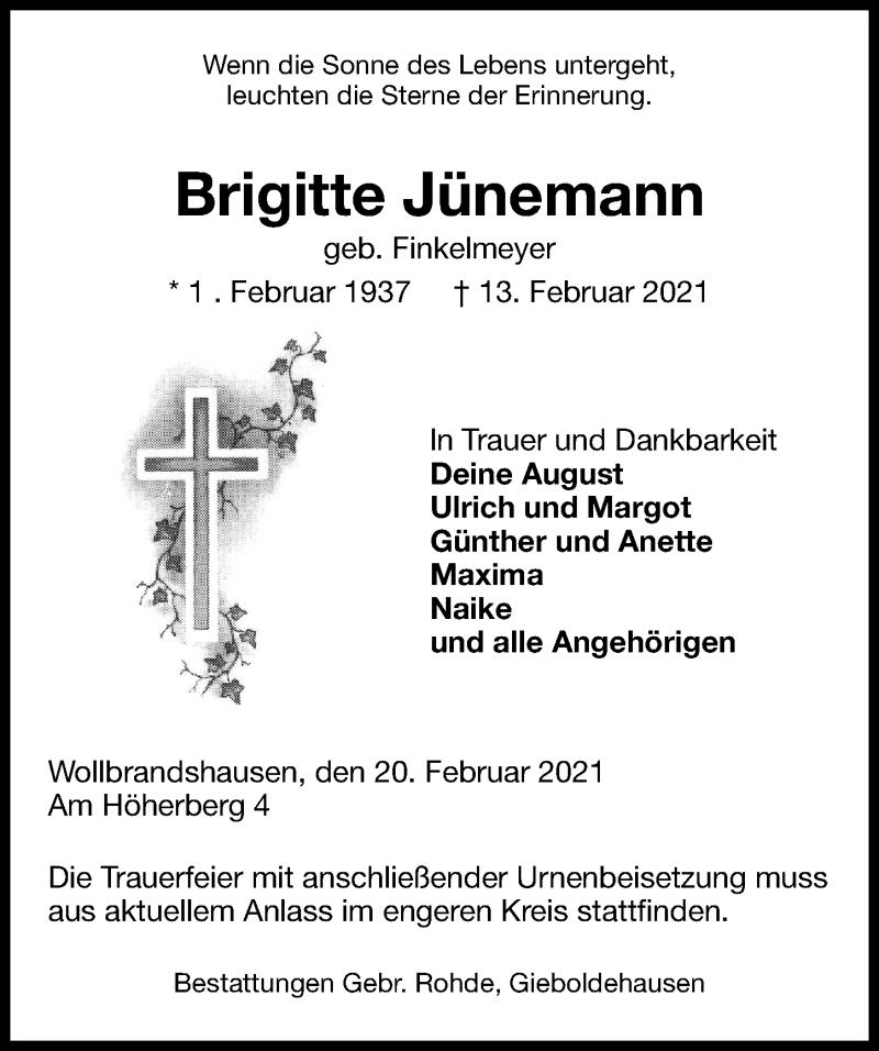 Traueranzeige für Brigitte Jünemann vom 20.02.2021 aus Eichsfelder Tageblatt