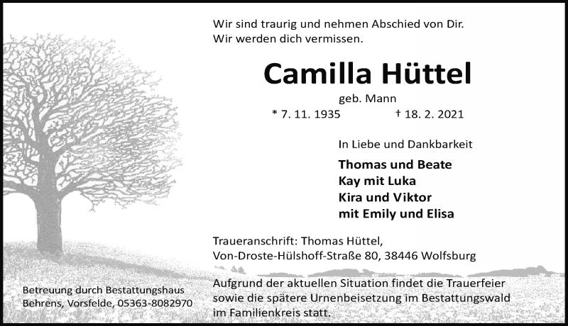 Traueranzeige für Camilla Hüttel vom 20.02.2021 aus Aller Zeitung