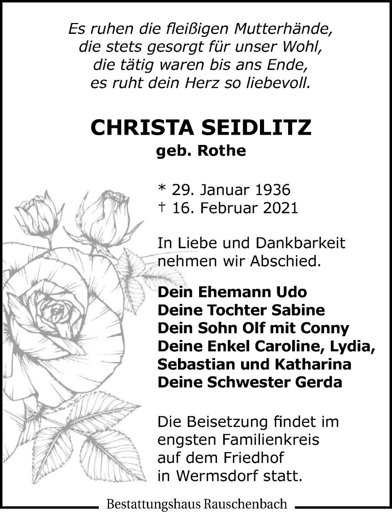 Traueranzeige für Christa Seidlitz vom 20.02.2021 aus Leipziger Volkszeitung