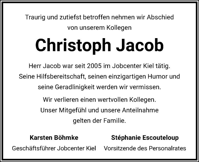 Traueranzeige für Christoph Jacob vom 23.02.2021 aus Kieler Nachrichten