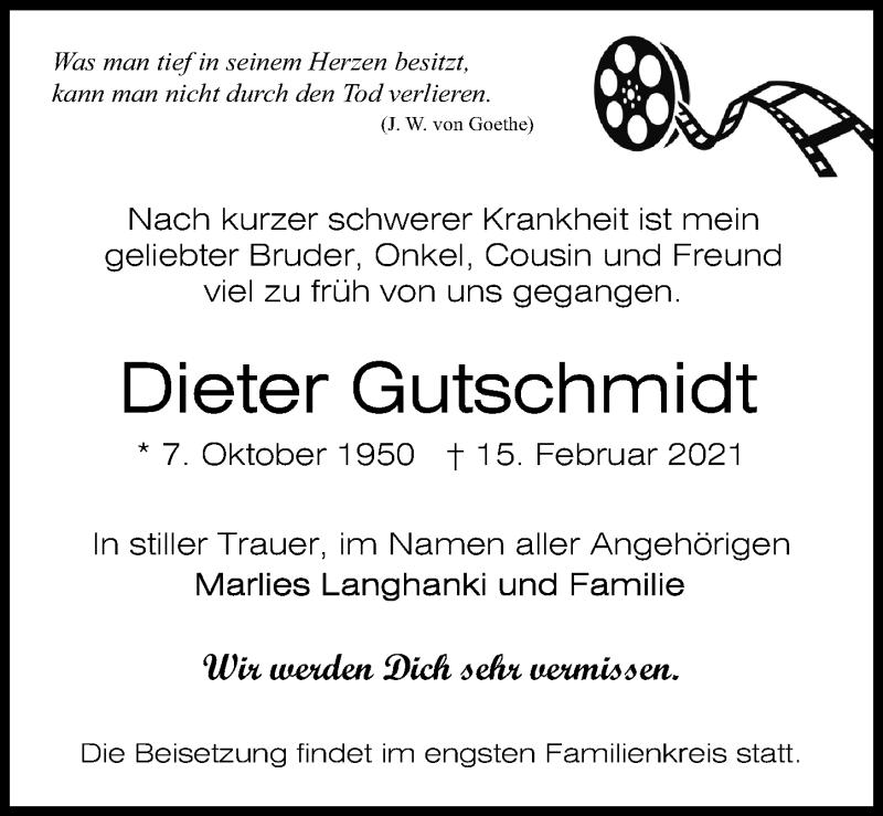 Traueranzeige für Dieter Gutschmidt vom 20.02.2021 aus Märkischen Allgemeine Zeitung