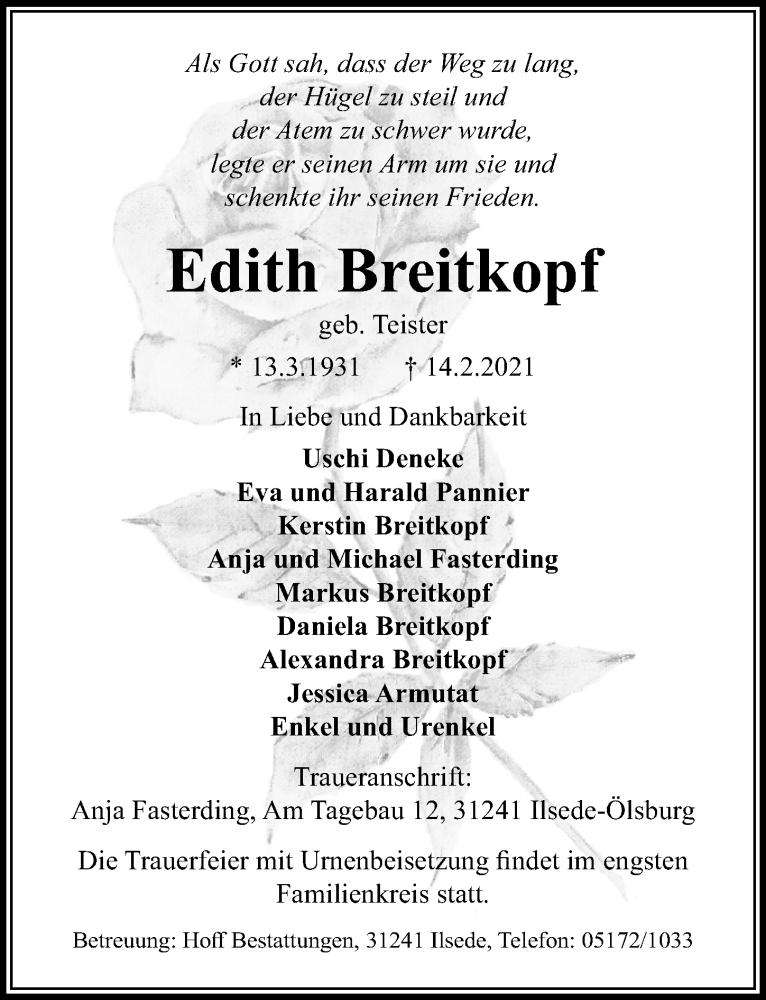 Traueranzeige für Edith Breitkopf vom 17.02.2021 aus Peiner Allgemeine Zeitung
