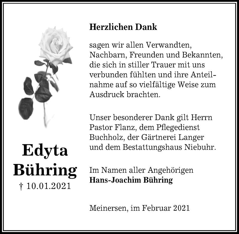Traueranzeige für Edyta Bühring vom 19.02.2021 aus Aller Zeitung