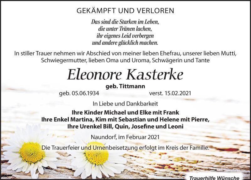 Traueranzeige für Eleonore Kasterke vom 20.02.2021 aus Leipziger Volkszeitung