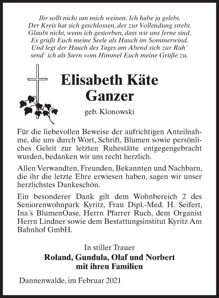 Traueranzeige für Elisabeth Käte Ganzer vom 20.02.2021 aus Märkischen Allgemeine Zeitung