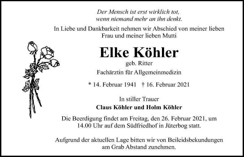 Traueranzeige für Elke Khler vom 23.02.2021 aus Märkischen Allgemeine Zeitung