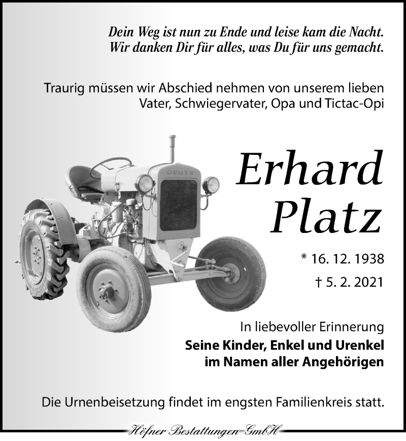 Traueranzeige für Erhard Platz vom 20.02.2021 aus Torgauer Zeitung
