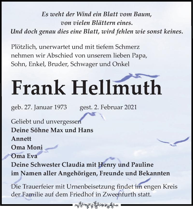 Traueranzeige für Frank Hellmuth vom 13.02.2021 aus Leipziger Volkszeitung
