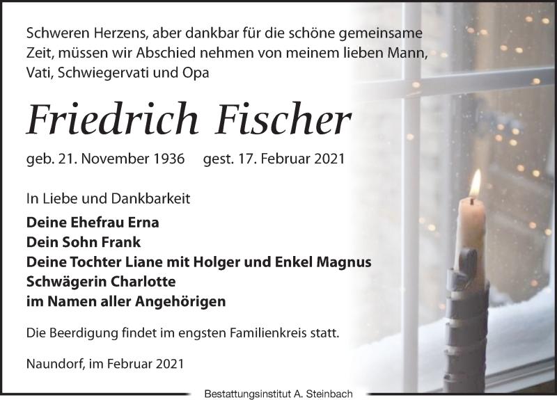 Traueranzeige für Friedrich Fischer vom 20.02.2021 aus Leipziger Volkszeitung