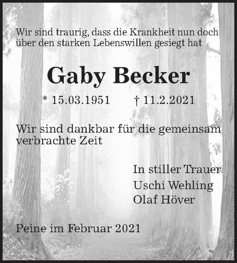 Traueranzeige für Gaby Becker vom 16.02.2021 aus Peiner Allgemeine Zeitung