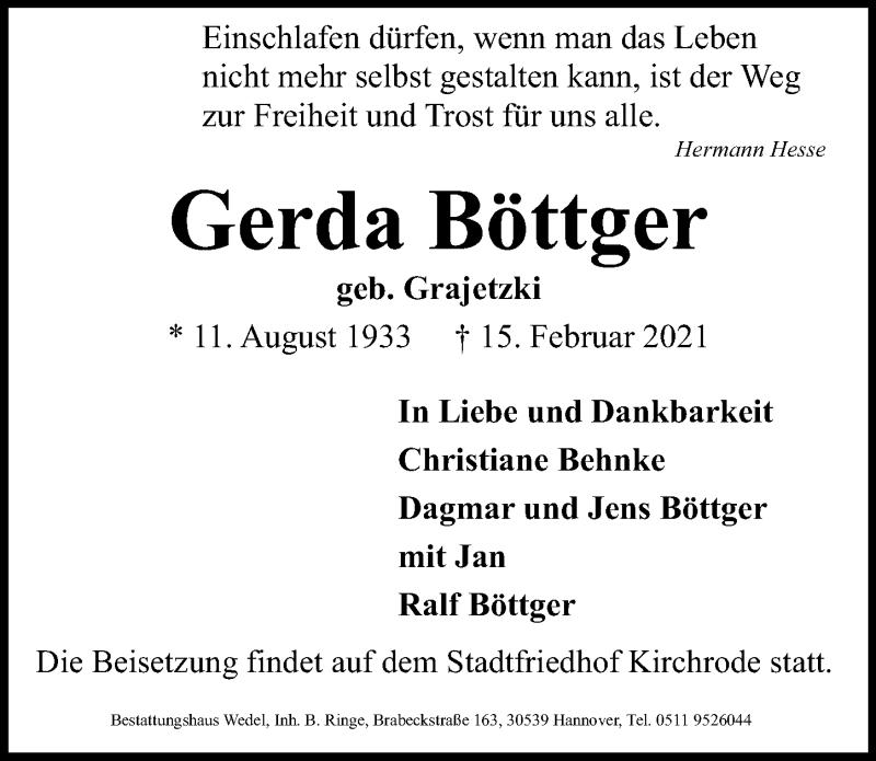 Traueranzeige für Gerda Böttger vom 20.02.2021 aus Hannoversche Allgemeine Zeitung/Neue Presse