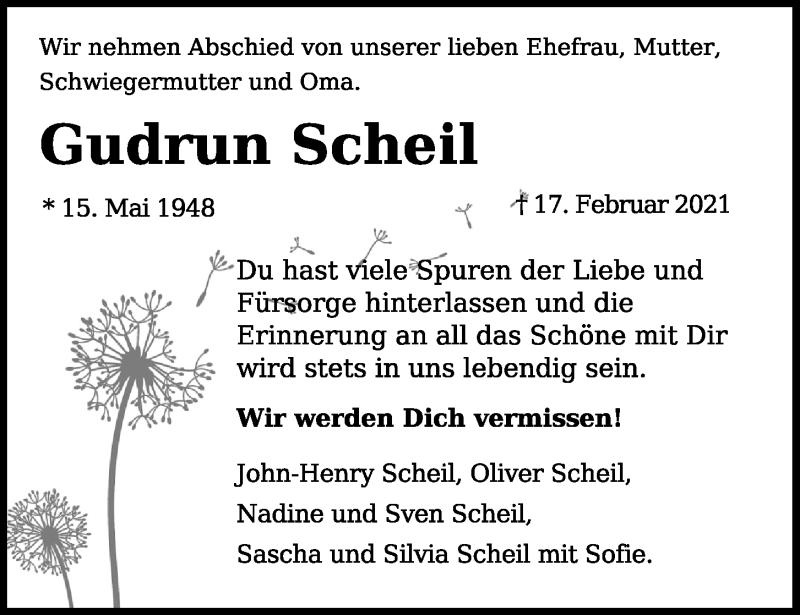 Traueranzeige für Gudrun Scheil vom 20.02.2021 aus Kieler Nachrichten