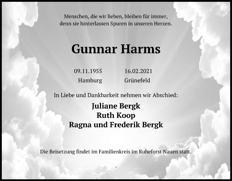 Traueranzeige für Gunnar Harms vom 18.02.2021 aus Märkischen Allgemeine Zeitung