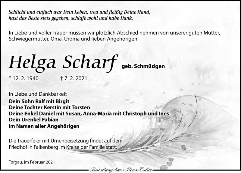 Traueranzeige für Helga Scharf vom 13.02.2021 aus Torgauer Zeitung