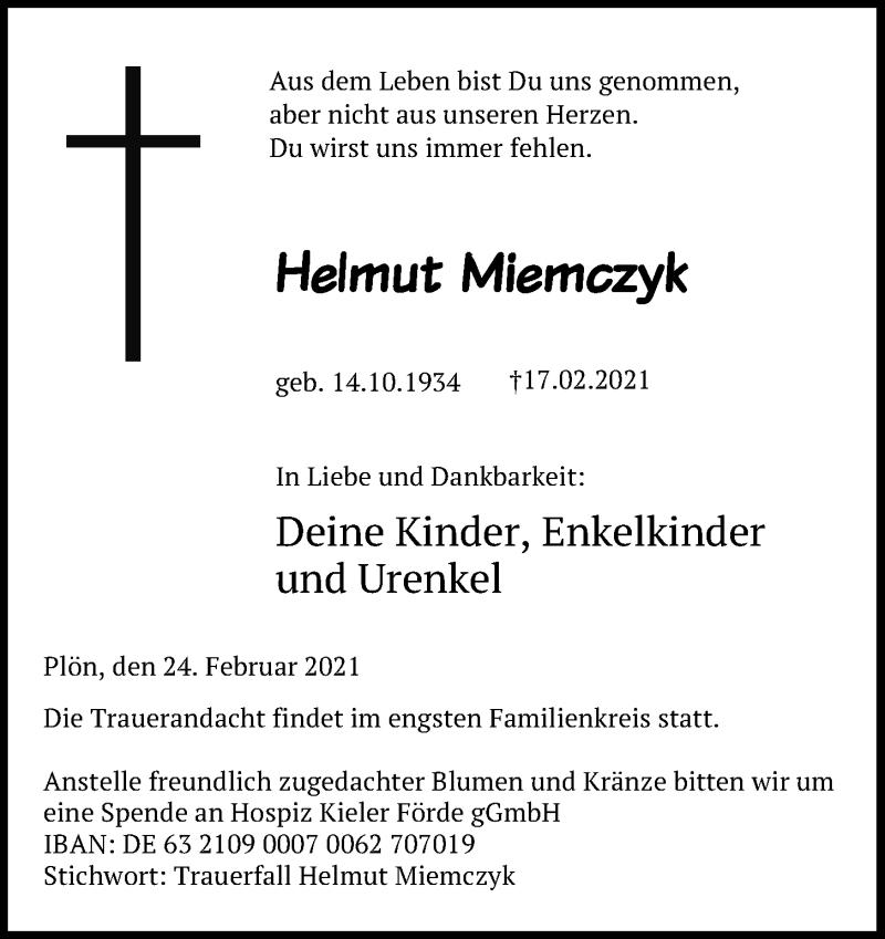 Traueranzeige für Helmut Miemczyk vom 27.02.2021 aus Kieler Nachrichten